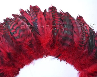 Wholesale / bulk feathers Red chinchilla rooster tail feathers, red black coque feathers strung millinery / 5-8 in (13-20cm) long / FB160-5