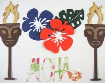 Beach Scrapbook embellishments, Pool party embellishment, Tiki torches,Hibiscus, Aloha