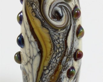 Handmade Lampwork Glass Bead SRA Brown Yellow Ivory Silver
