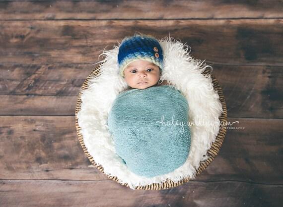 Newborn Wrap, Knit Stretch Fabric, Photography Prop, Knit Stretch Wrap, Ready to Ship, Newborn, Baby, Boy, Girl - Aquamarine