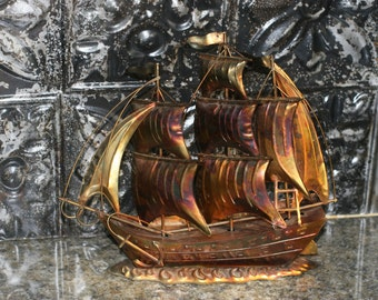 Vintage Metal Ship Boat Sculpture/ Cottage Decor/ Nautical Wedding Decor