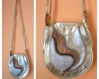 Golden Trails Leather Mini Saddle Bag 1980s
