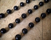 100cm Round Pearl Black Bead Necklace Chain 8mm Bead Antique Bronze Chain Jewelry Making Supplies (EC119)