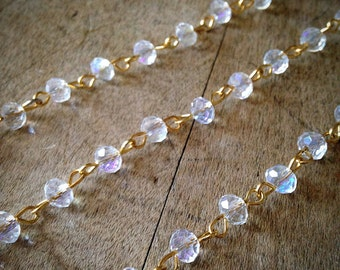 100cm Round Faceted Clear Bead Necklace Chain 6mm Glass Bead Gold Chain Jewelry Making Supplies (EC098)