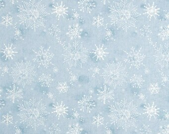 Blend Fabrics - Merry Stitches - Fleeting Snowflakes - Blue - Cori Dantini-Choose Your Cut 1/2 or Full Yard