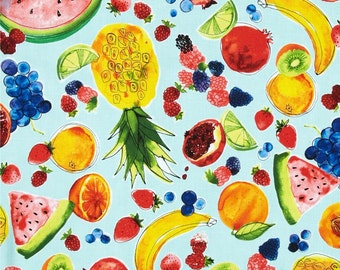 NEW - Robert Kaufman - Metro Market - Juicy Fruits - Aqua - Novelty Fabric-Choose Your Cut 1/2 or Full Yard