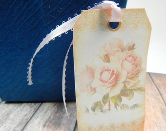 Shabby Chic Gift Tags, Vintage Rose, Gift tag, Shabby Chic, Favor tag, hang tags, Custom Designed, Set of 6  Tag, Shabby Chic Rose