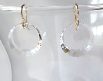 Faceted Crystal Discs on 14k Gold Filled Earwires