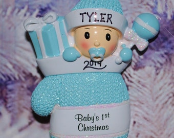 Personalized Mitten Baby Boy First Christmas Ornament