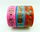 Cute Moster Washi Tapes Set of 3 Rolls - 10m Gift Wrapping Cartoon Masking Tape