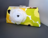 Yellow Green Floral Clutch for Weddings, Bridesmaids, Flower Girls, Proms, Parties