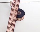33 mm burguny and gold Jacquard ribbon, Embroidered border , Embroidered ribbon, burgundy and gold Greek key Jacquard trim, Woven Border