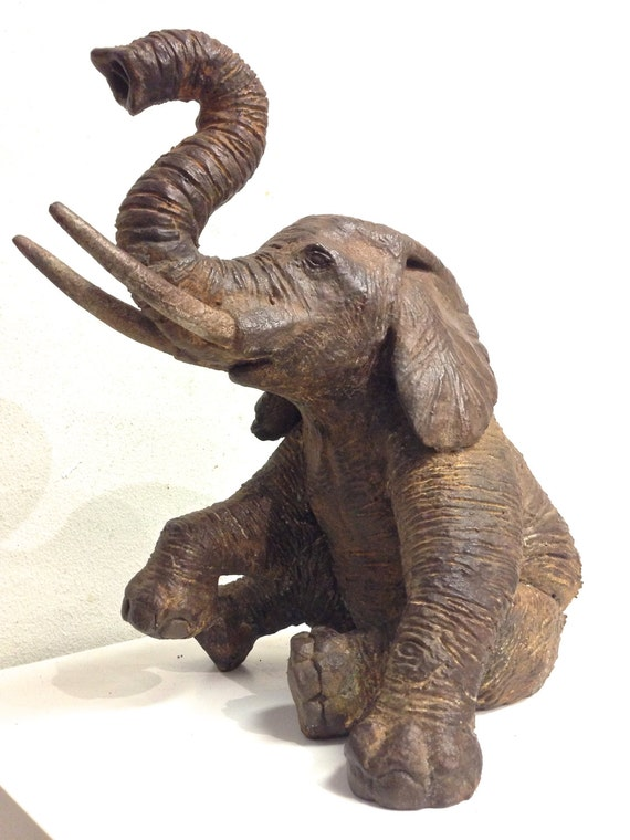 Seated Elephant Sculpture by Tony Furtado