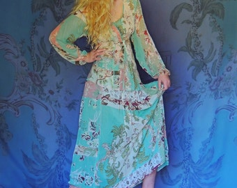 Vintage Kenzo silk dress suit / soft chiffon dreamy oriental floral maxi / 3 piece outfit / tank, blouse and skirt