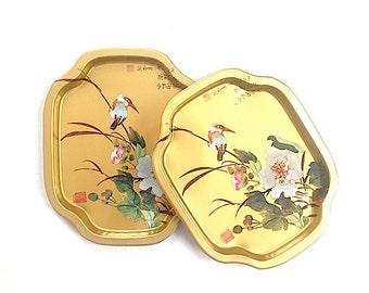 Mid Century Bird Tin Tray, Bird Home Decor, Put A Bird On It, Bohemian Chic Tray Made in Hong Kong,