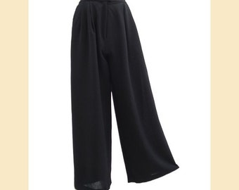 Vintage 1980s Palazzo trousers in black wool by Fenn, Wright and Manson, wide leg trousers UK size 8 to 10