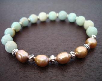 Women's Healing Pearl Mala Bracelet - Pearl & Amazonite Mala Bracelet - Yoga, Buddhist, Jewelry, Meditation, Prayer Beads
