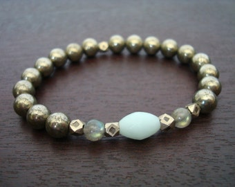 Women's Luck & Good Fortune Mala Bracelet - Amazonite, Pyrite Mala Bracelet - Yoga, Buddhist, Jewelry, Meditation, Prayer Beads
