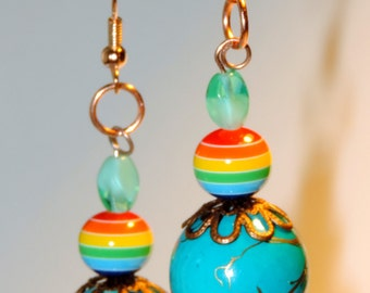 Pretty Multicolor Rainbow Beaded Dangle Earrings