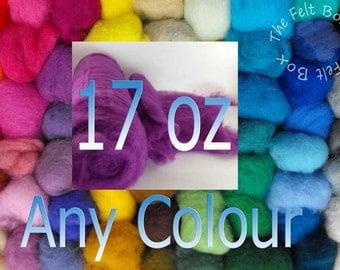Felting Wool, 100+Shades, Carded Needle Felting Wool, Bulk Pack Wool, Needle Felting Supplies, Felting Wool UK, 17oz 500g of one colour, RTS