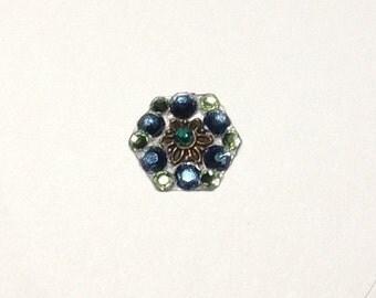 Navy & Green Swarovski Crystal Bindi