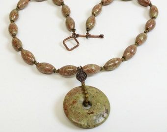 Autumn Jasper Necklace with Donut Pendant Rustic Elegance Autumn/Fall colors of Greens, Russet, Rust, Browns and Copper