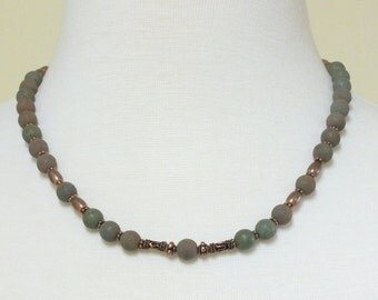 Boho Chic Green Matte Agate Beads with Copper