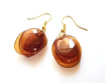 SALE Brown earrings repurposed jewelry everyday earrings made of plastic bottle repurposed jewelry recycled earrings eco friendly jewelry