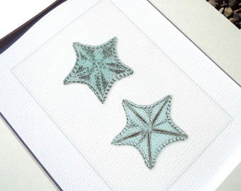 Ocean Blue Starfish Archival Print on Watercolor Paper