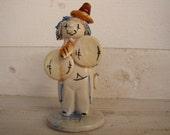 1960s small clown figurine, glazed ceramic, collectible small circus clown statue, ornament