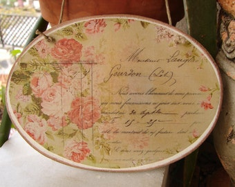 vintage shabby roses, wooden, oval sign, French typography image sealed onto wood, string to hang