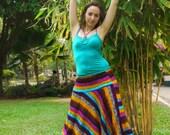 Harem Pants in Cotton, Rainbow Stripes Blue Pink & Orange -- Aladdin Pants -- Women's Harem Pants -- Drop Crotch Style