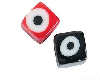 12 Glass Eye Cube Beads