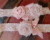 Shabby Chic Wedding Garter / Blush Pink Vintage Style Garter with Pearls and Rhinestones/Toss Included/ Colleen