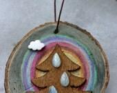 Christmas Holiday Ornament, birch wood slice, rain tree, rainbow, cloud, rainy Christmas, colorful, raindrops