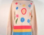 Vintage 60s Embroidered Hippie Sweater, Mod Flower Power Fringe Pullover Jumper, Preppy pullover Sweater Tunic M