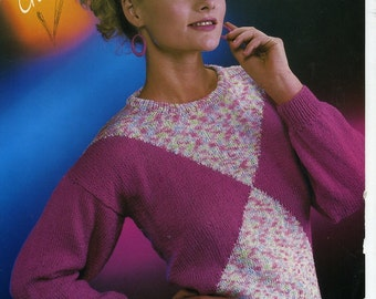 Vintage Robin 13916 Diamanter Knitting Pattern for Lady's Sweater, 30-38 inch