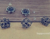 20pcs 15mm  Antique silver Flower Stud Earrings Accessories