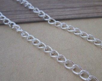 16ft(5m)  silver color necklace pendant chain 4mmx6mm