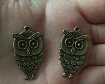 10pcs Antique bronze owl Charms pendant 19mmx35mm