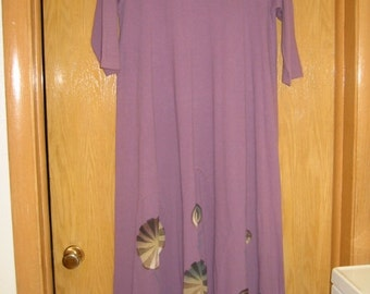 vintage long, purple dress with gored skirt by 'Blue Fish' . . size small . .organic cotton. .hand painted . . made in the USA . .never worn