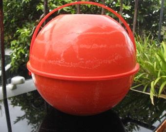 Dome shaped orange plastic picnic set