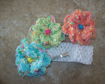 Headband,flowers,gift,photo prop,girl,girls,toddler,toddlers,baby,babies,stars,crocheted,green,turquoise,orange,pictures