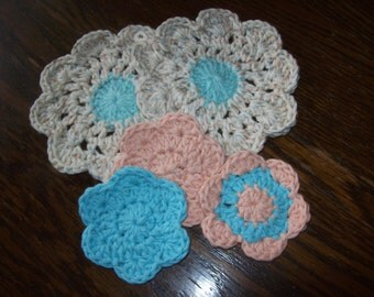 Babies,Baby,Infant,Infants,Shower,Cloths,Bath,Gift,Toddler,Toddlers,Dolls,Cotton,Crocheted,Turquoise,Peach,Cream