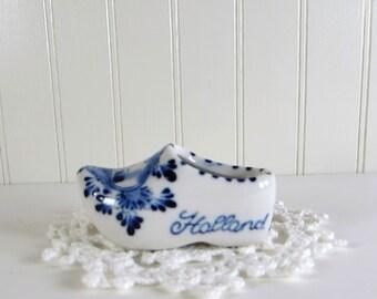 Vintage Miniature Dutch Shoe - Delft Hand Painted