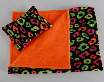 Multicolored Neon Cheetah Print Fleece Pillow and Blanket Set for American Girl and 18 Inch Dolls.