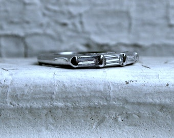 RESERVED - Awesome Vintage Platinum Baguette Cut Diamond Wedding Band - 0.30ct.