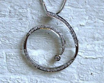 Vintage 18K White Gold Swirly Diamond Pendant with Chain.