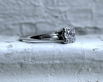 Vintage Platinum Diamond Solitaire Engagement Ring.