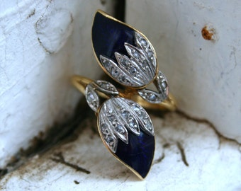 RESERVED - Vintage 18K Yellow Gold/ Platinum Diamond and Blue Enamel Ring.